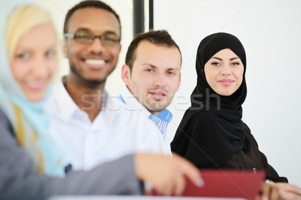 Middle eastern people having a business meeting at office Stock photo © zurijeta