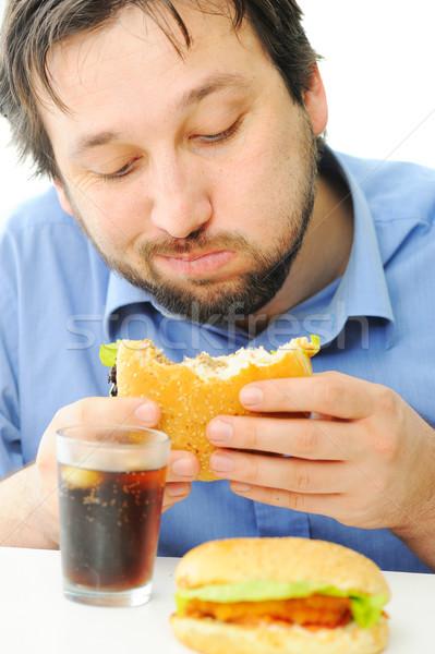 Foto stock: Hombre · guapo · Burger · coque · alimentos · cara