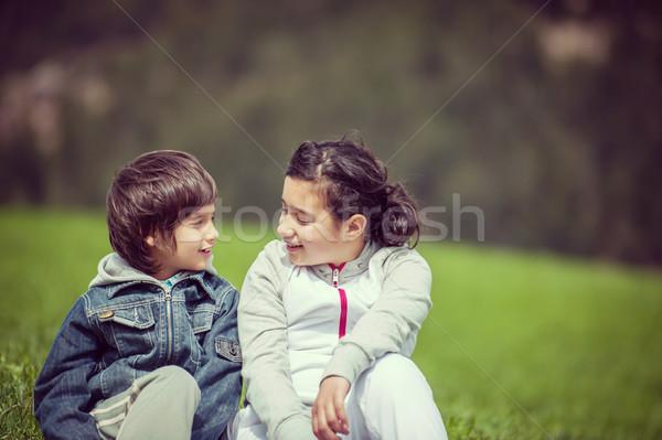 Fiú lány gyönyörű tavasz vakáció idilli Stock fotó © zurijeta