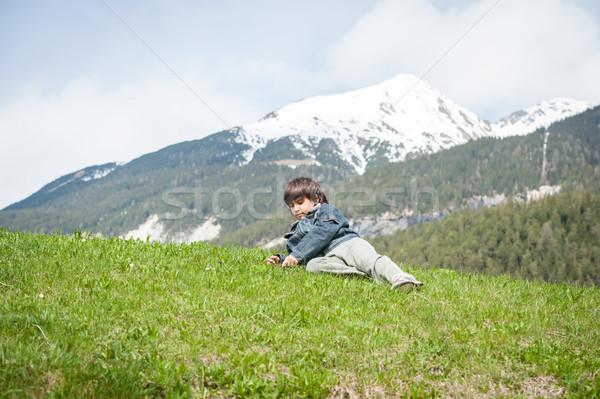 çocuklar güzel bahar tatil pastoral alpler Stok fotoğraf © zurijeta