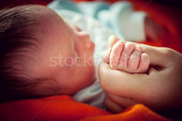 Recién nacido bebé mano primero cara salud Foto stock © zurijeta