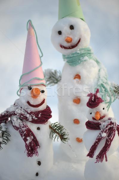 雪だるま 冬 クリスマス 幸せな家族 雪 人 ストックフォト © zurijeta