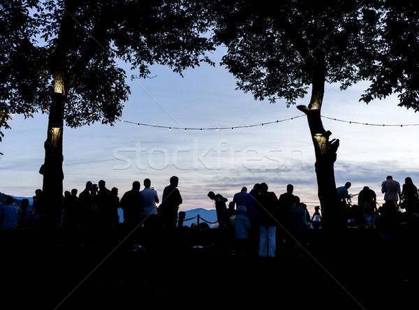 Multitud personas junto aire libre espera puesta de sol Foto stock © zurijeta
