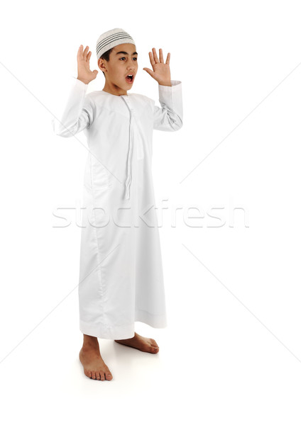 Islamic pray explanation full serie. Arabic child showing complete Muslim movements while praying, s Stock photo © zurijeta
