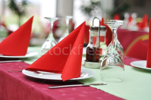 Restauracji przygotowany tabeli moda nowoczesne srebrny Zdjęcia stock © zurijeta