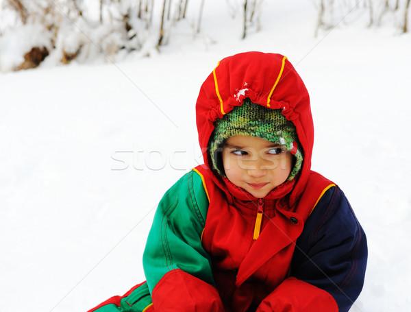 Happy child in snow, white winter Stock photo © zurijeta
