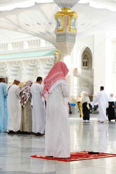 Muslims praying together at Holy mosque Stock photo © zurijeta