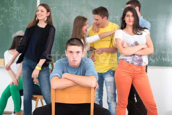 Középiskola diák osztálytársak pózol osztályterem háttér Stock fotó © zurijeta