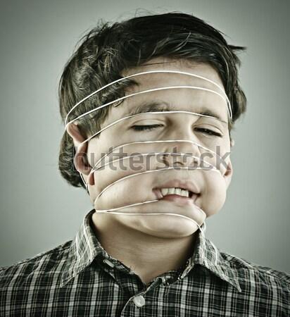 Bağbozumu portre erkek yüz soyut çocuk Stok fotoğraf © zurijeta