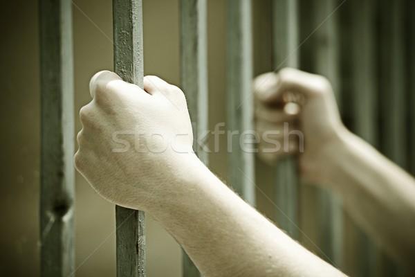 рук тюрьму металл Бар печально правосудия Сток-фото © zurijeta