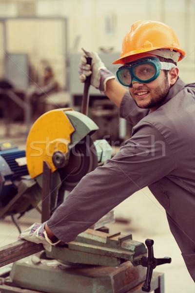 Trabalhador soldagem industrial operário de fábrica fábrica construção Foto stock © zurijeta