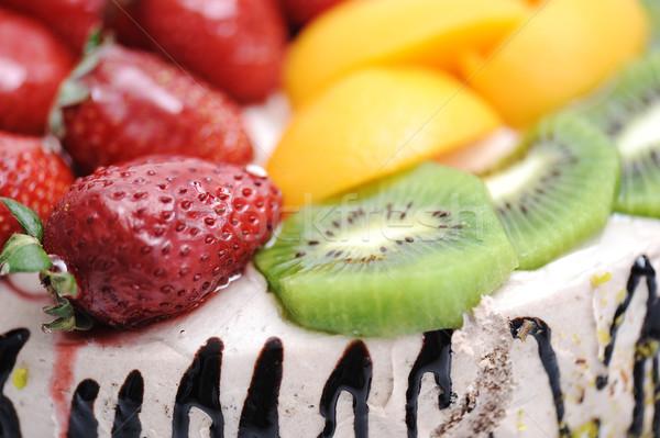 Fantastisch fruitcake vruchten chocolade oranje Rood Stockfoto © zurijeta