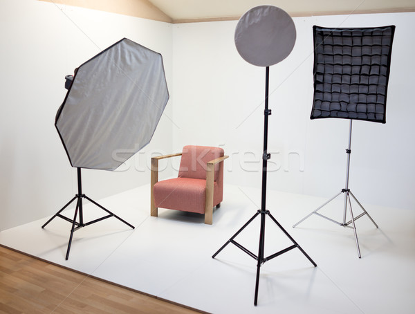Vide photo studio matériel d'éclairage fond lampe Photo stock © zurijeta