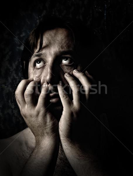 Closeup portrait of sad depressed desperate and lonely man Stock photo © zurijeta