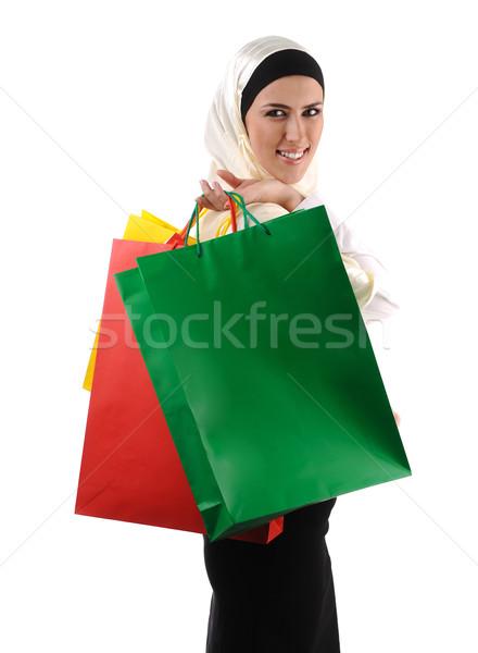 Mooie moslim traditioneel moderne vrouw Stockfoto © zurijeta