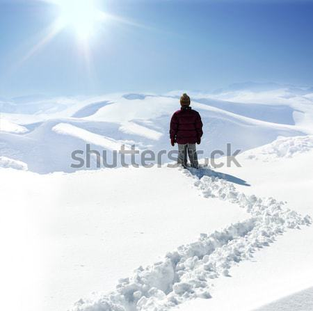 Human on mountain, winter, snow, walk  Stock photo © zurijeta