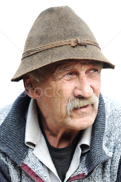 Mooie afbeelding eenzaam oude man gezicht portret Stockfoto © zurijeta