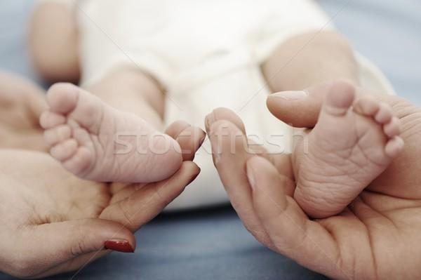 Zdjęcia stock: Rodziców · baby · stóp · ciało · szpitala