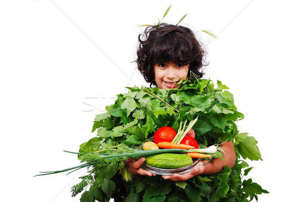 Yeşil sebze kız gıda doğa pizza Stok fotoğraf © zurijeta