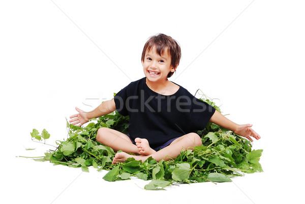 Cute kid sitting on leafs isolated Stock photo © zurijeta