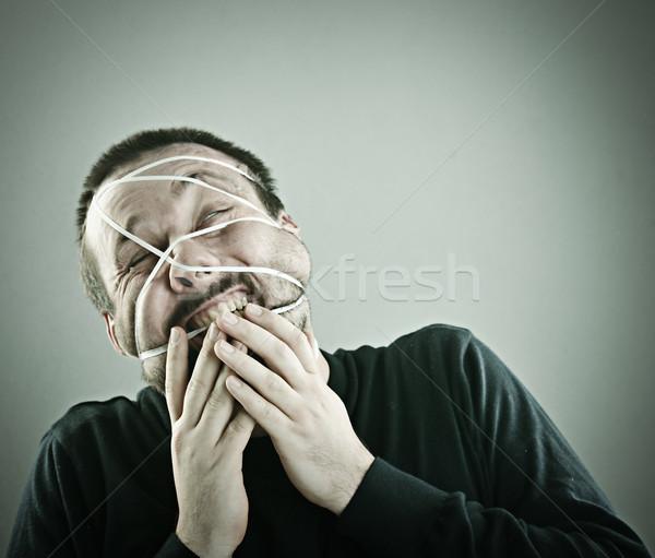 Portre adam yüz soyut arka plan ağız Stok fotoğraf © zurijeta