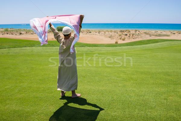 Heureux musulmans famille prairie écharpe herbe Photo stock © zurijeta