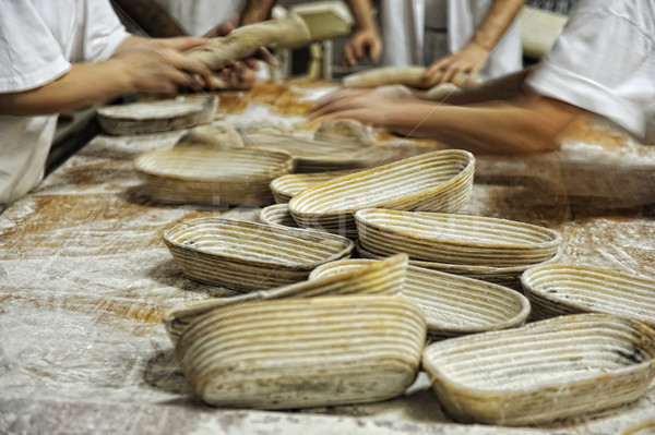 In bread bakery, food factory Stock photo © zurijeta