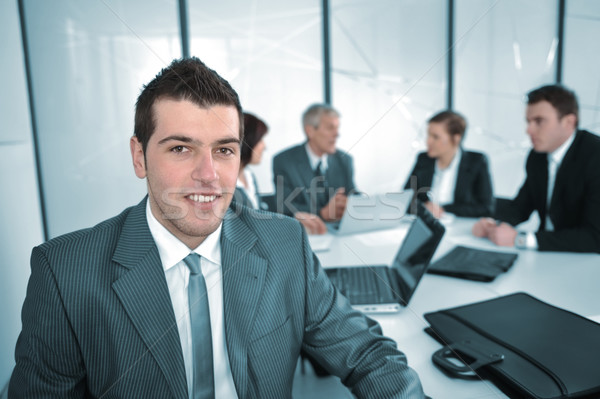 ストックフォト: 肖像 · 成功した · ビジネスマン · ビジネスチーム · 会議 · 笑顔
