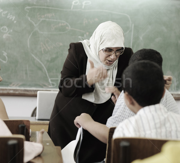 Education activities in classroom,  female teacher yelling at pupil Stock photo © zurijeta