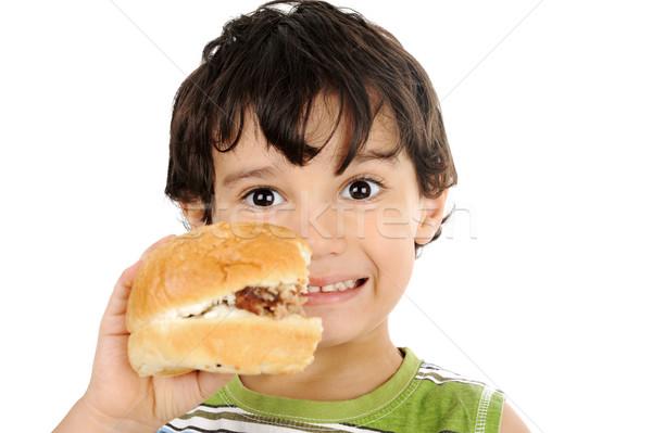 Heureux enfant hamburger isolé alimentaire Photo stock © zurijeta