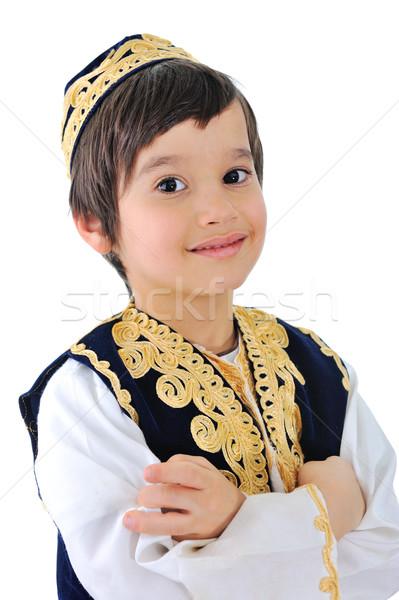 Portré aranyos gyermek visel hagyományos ruházat Stock fotó © zurijeta