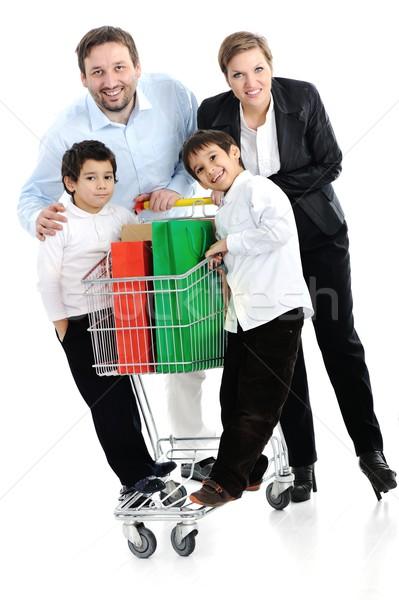 Photo stock: Famille · heureuse · panier · famille · alimentaire · heureux · Kid
