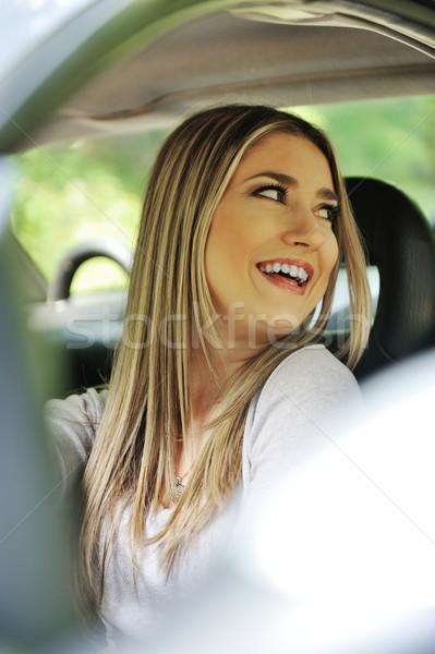 Vonzó mosolygó nő új autó nő lány autó Stock fotó © zurijeta
