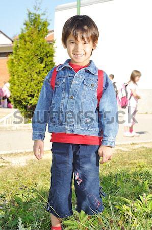 Happy children in front of the school, outdoor, summer to fall Stock photo © zurijeta