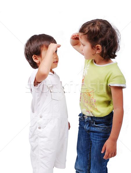 Twee kinderen hoogte meisje kijken Stockfoto © zurijeta