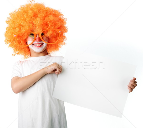 Cute grappig clown kind witte portret Stockfoto © zurijeta