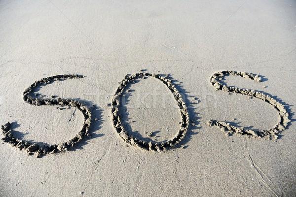 Felirat homok gyönyörű szörf ünnepek sos Stock fotó © zurijeta