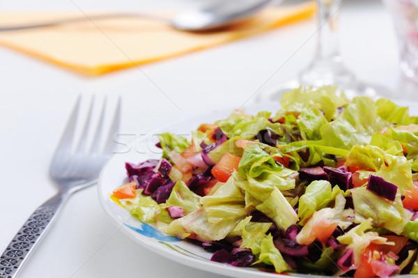 Stock foto: Gemüse · Salat · Restaurant · grünen · Käse · Öl