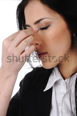 Young depresses stressed business woman at office Stock photo © zurijeta