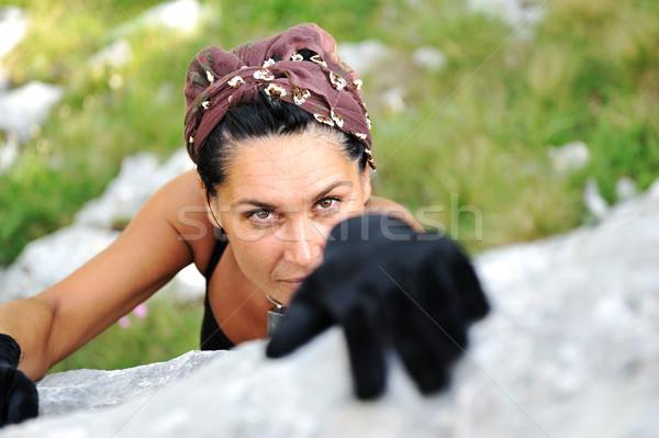 Stok fotoğraf: Kadın · tırmanma · kaya · dağ · kız · mutlu