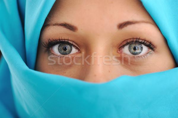 Moda mavi başörtüsü yüz güzellik genç Stok fotoğraf © zurijeta