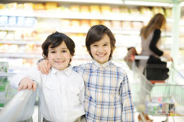 Zwei schönen Kinder Einkaufszentrum Junge Weihnachten Stock foto © zurijeta