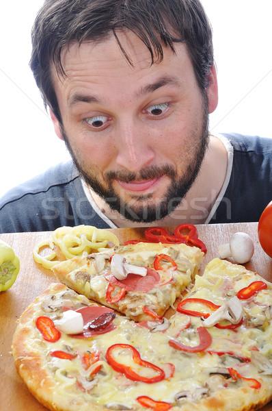 Foto stock: Adulto · pessoa · surpreendido · cara · pizza · tabela