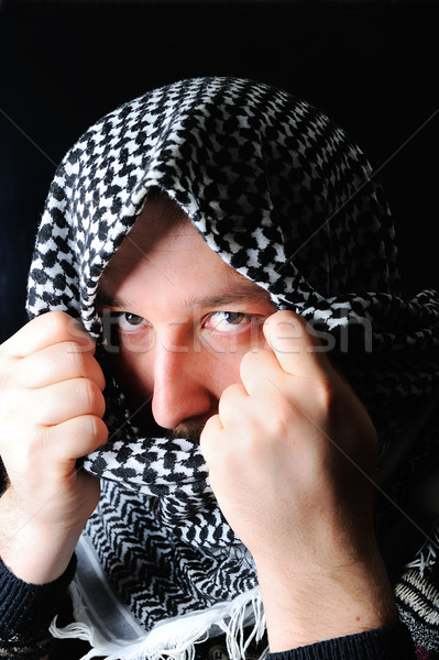 Terrorist gezicht man masker kwaad menselijke Stockfoto © zurijeta