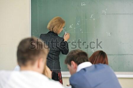 Profesör kara tahta yazı sınıf kadın kız Stok fotoğraf © zurijeta