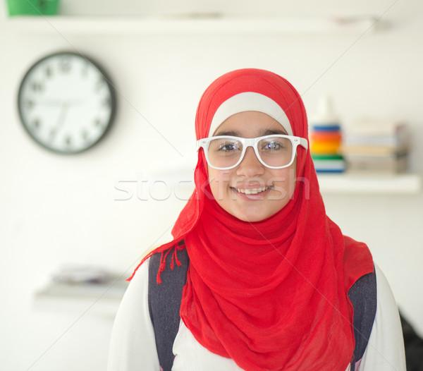 Muszlim lány hidzsáb boldog otthon idő Stock fotó © zurijeta