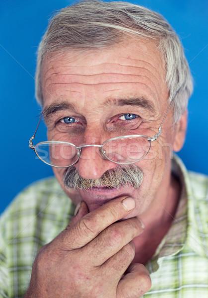 Sorridente homem maduro bigode rugas idoso boa aparência Foto stock © zurijeta