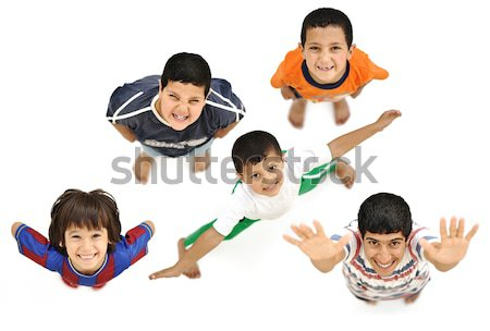Happy children, positive fresh smiling boys from above, different angle, isolated on white, full bod Stock photo © zurijeta