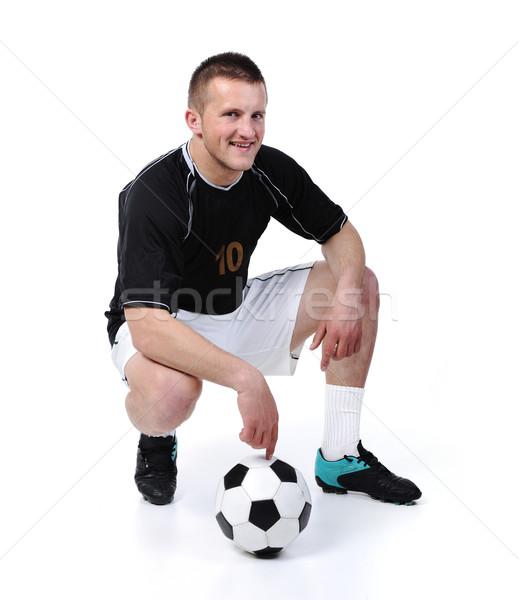 Futbolista pelota aislado blanco mano Foto stock © zurijeta