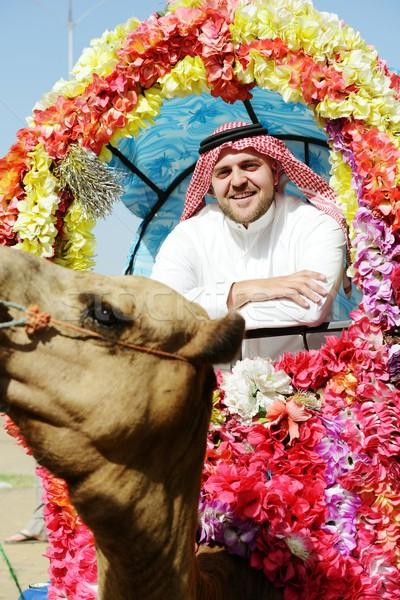 Adam dekore edilmiş deve gül manzara seyahat Stok fotoğraf © zurijeta